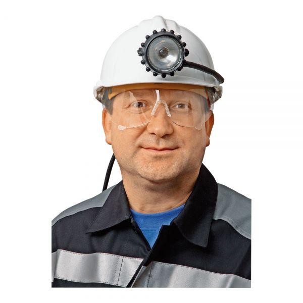 Удобная шахтерская каска с креплениями для фонаря и кабеля.  Возможна комплектация встраиваемыми очками.